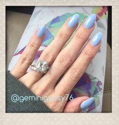 Diamond ring with halo #wedding #diamonds Almond Nails in periwinkle Blue #almondshape #diamondring #halo radiant  cut