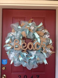 Beach wreath by TheKraftyKat32 on Etsy