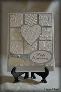 Anniversary. if you don't have embossing supplies to make all these lovely squares, try interesting scrapbook paper leftovers. make in squares like this or mosaic pattern, stripes or whatever strikes your fancy.