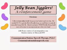 Speechie Freebies: Jelly Bean Jigglers! Fun Reinforcement Game. Pinned by SOS Inc. Resources @so siu ki Inc. Resources.
