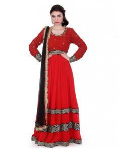 Red With Black Anarkali Red thread work georgget yowk with red 80gm gerogget kali flair with heavy velvet kasab work border on it. Black softnet duptta with red and gold border on it.  Color : Red With Black #Ootd #Potd #Qotd #Fashion #Shopping #WomenWear #IndianWear #Style #Blogger #lehenga #Mumbai #Wedding #OutfitOfTheDay #Fashion #Anarkali #Traditional #Shopping #WomenWear #DesignerWear #Designer #FashionDesigner #IndianDesigner