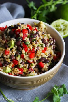 Brown Rice & Beans Salad Recipe with Chili Hot Sauce Dressing | cookincanuck.com #vegetarian #vegan #CincodeMayo