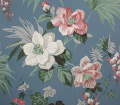 1940's Vintage Wallpaper Large Pink and White Floral on Blue