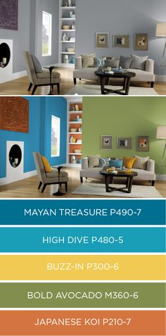 Bring new energy and life into your home with this bright color palette from BEHR Paint. These vibrant shades call to mind the rich hues of spring. Click here to see how you can use chic colors like Mayan Treasure, High Dive, Buzz-In, Bold Avocado, and Japanese Koi in your home.