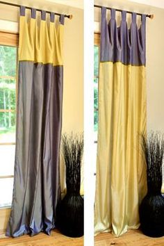 Reversible Two tone Silk Curtains  96'' x 46'' by AMaer on Etsy, $25.00