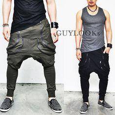 Avant-garde Mens Low Drop Crotcem Double Zippered Baggy Sweatpants Guylook