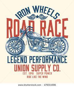 Motorcycle typography, t-shirt graphics, vectors.