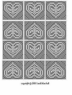 filet crochet patterns free | Heart Filet Crochet Bedspread,