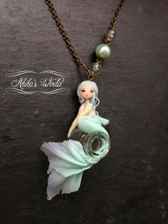 Aquamarine and translucent mermaid on her bottle necklace- Unique cameo model - Polymer clay chibi / doll pendant - Fantasy / kawaii jewel