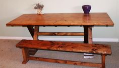 Sold Wood Handcrafted Farmhouse Trestle Table. If you would like to view this and many more please visit montanatable.com or contact Peter Eldridge at (406) 925-3281.