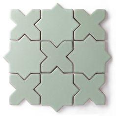 Star & Cross tile by Fireclay Tile Cross Patterns, Tile Patterns, Clay Tiles, Mosaic Tiles, Fireclay Tile, Fire Clay, Brick Tiles, Encaustic Tile, Handmade Tiles