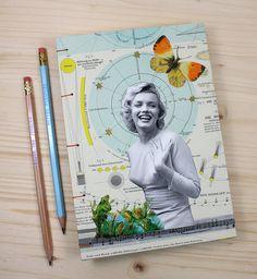 KÜNSTLERBUCH, Marilyn und Frösche, 21x15 cm, 280 Seiten, blanko, koptische Bindung, Tagebuch, Skizzenbuch, Notizbuch, Collage, vintage