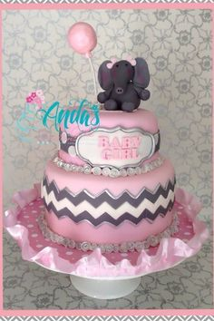 Pink Grey Elephant Baby Shower | Pink Gray Chevron And Elephants Baby Shower  .