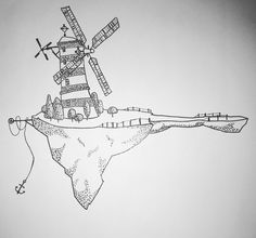 my first drawing, i'm trying!:) #gorillaz #windmill #isle #island #black #white #blackanwhite #dotwork