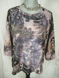CHICO'S 2 Top Purple Knit Paisley Floral Crystal Rhinestone Embellished Sweater #Chicos #KnitTop #Casual#KnitTop#dressitup#everyday#fashion#style#trend#summer#sale#deal#chicosforsale#sweater#chicosstyle#boho#freepeople#socute#adorable#arty#paisley#gottohaveit#bling#resale