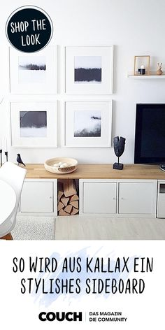 This is how your Ikea Kallax shelf becomes a stylish sideboard! The post Ikea Hack # Kallax becomes a stylish TV lowboard appeared first on Woman Casual - Home Inspiration Ikea Tv, Ikea Kallax Shelf, Ikea Kallax Hack, Ikea Hack Desk, Kallax Desk, Ikea Hack Storage, Ikea Malm, Diy Storage, Kitchen Storage