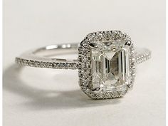 EMERALD CUT F-G HALO FRENCH PAVE DIAMOND ENGAGEMENT RING 1.25 CT