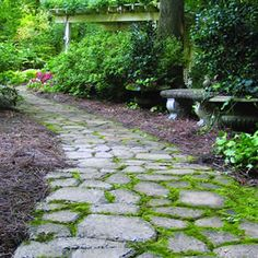 This pathway is relatively easy to make and I like the moss growing between the edges.  In general I like more natural stone pathways.