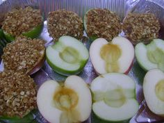 Baked Apples w/Oatmeal Streusel Topping - a little over 1/4 cup melted butter +1/2 cup oats +1/2 cup flour +1/2 cup brown sugar +1 tsp cinnamon +pinch of ground ginger & salt. Fill & top apple halves w/mixture. Bake at 350 F until tops are golden brown & apples swell (about 30 minutes).