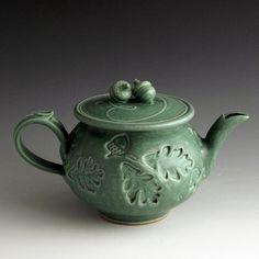 Green Stoneware Woodland Stamp Teapot by baumanstoneware on Etsy