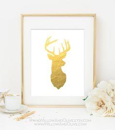 DEER HEAD - RIGHT FACE Faux Gold Foil Art Print