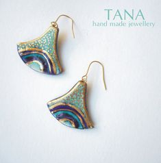 Ceramic earrings multicolore and gold. Boucles by Tanaart on Etsy, $38.00