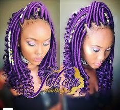 This Item Type: Goddess Faux Locs Crochet Braids Hair with curly ends, 18 inches length, strands/pack), normally 6 packs make a full head, Material: kanekalon synthetic hair. Purple Braids, Black Girl Braids, Braids For Black Hair, Girls Braids, Purple Hair, Colored Braids, Faux Locs Hairstyles, Twist Braid Hairstyles, African Braids Hairstyles