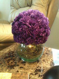 Purple Carnation Centerpieces