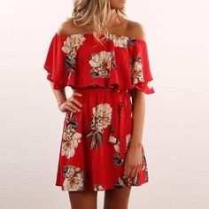 online shopping for Kbook Women's Cute Floral Print Off Shoulder Ruffle Sleeve Boho Mini Dress Belt from top store. See new offer for Kbook Women's Cute Floral Print Off Shoulder Ruffle Sleeve Boho Mini Dress Belt Women's Dresses, Cute Dresses, Casual Dresses, Short Dresses, Pleated Dresses, Floral Dresses, Beautiful Dresses, Floral Outfits, Wrap Dresses