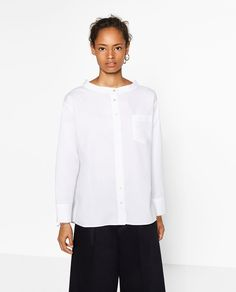 ZARA - WOMAN - OPEN MANDARIN COLLAR SHIRT #joinlife