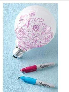 Doodle on bulb for design in kids room, ect