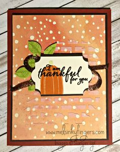 Painted Harvest stamp set, Leaf Punch, Painted Autumn designer series paper, Everyday Label Punch, Pick a Pumpkin stamp set, all from the 2017 Holiday Catalog!