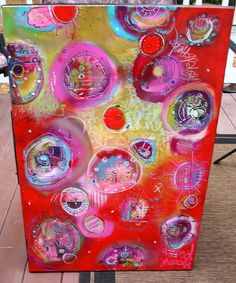 Reveal Large Pod and Portal Painting 24 x 36 in Reds by JodiOhl, $425.00 Something to discover in every corner!