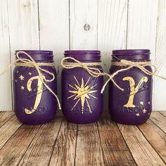 Purple JOY mason jar set | Christmas decor | rustic home decor | Christmas table centerpiece