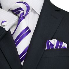 """3 PC 100% Silk Necktie Set Color: Red and White 59"""" Length, 3.25"""" Width Perfect for any occasion"""
