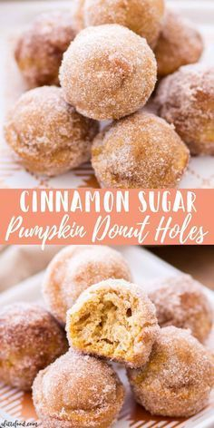 fall recipes These homemade Cinnamon Sugar Pumpkin Donut Holes are sugar, spice, and absolutely nice! Baked Pumpkin Donut Holes are such a quick and easy fall dessert, and would make a perfect fall breakfast recipe! Fall Dessert Recipes, Köstliche Desserts, Delicious Desserts, Breakfast Recipes, Yummy Food, Easy Fun Desserts, Easy Pumpkin Desserts, Autumn Desserts, Thanksgiving Desserts Easy
