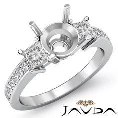 Diamond Engagement Fine 3 Stone Ring Princess Round Mount Platinum 950 0 8ct   eBay