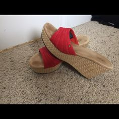 Ugg suede leather wedges Coral suede leather wedges worn maybe 5 times. Suede lining. Terrific shoe for Spring/Summer! UGG Shoes