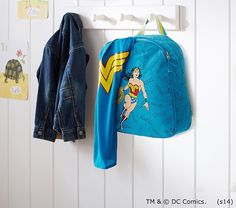 How awesome is this: Wonder Woman backpack with a cape built in, perfect for preschool | back to school guide 2015