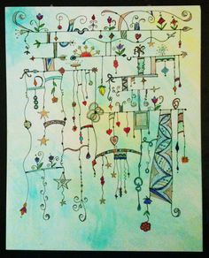 """Lovely Zenspirations(TM) Dangle Design-- especially for a first try! The artist wrote """"First attempt of dangles on color-washed panel... I can feel the addiction starting..."""""""