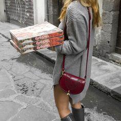 We love Pizza and Sofia Small Burgundy bag