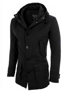 Ericdress Hood Pocket Vogue Alkalmi Slim Férfi kabát Lezser Férfi 7864e0936c