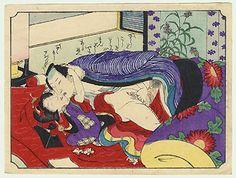 Fuji Arts Japanese Prints - Complete Meiji era Shunga Set (12 woodblock prints) by Utagawa School