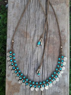 tribal necklace macrame necklace turquiose and gold brass
