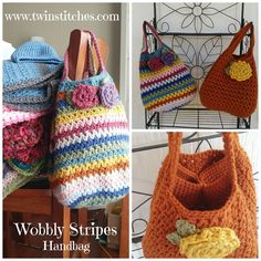 Tw-In Stitches: Wobbly Stripes Handbag - Free Pattern | Tw-In Stitches