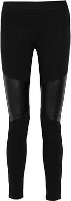 Sandro Leather-paneled stretch-jersey skinny pants - Shop for women's Pants - Black Pants