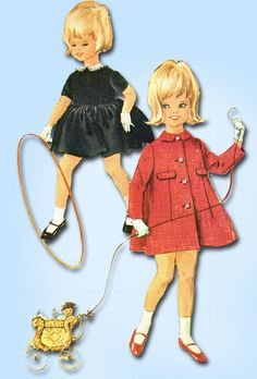 1960s Vintage McCall's Sewing Pattern 6621 Toddler Girls Dress & Coat Size 2…