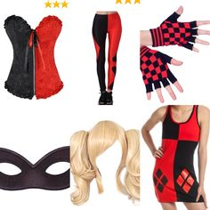 Awesome harley Quinn combo for easy neat costume. You can find everything here on amazon :)