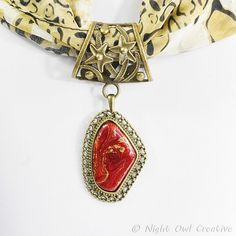 Scarf Ring  Red and Gold Embossing Enamel by NightOwlCreative