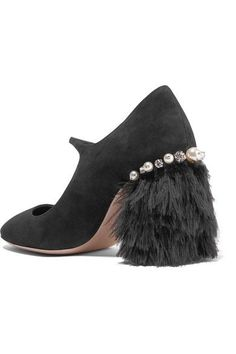 Heel measures approximately 85mm/ 3.5 inches Black suede and feathers (Marabou) Slip on Feathers: South Africa Made in Italy